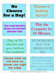 Mainly pinning this because of the reward coupons. It's a neat idea to reward the kids for chores, but not break the bank as well.