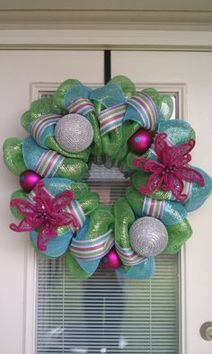 Spring Mesh Deco Wreath by SouthernWreathDesign on Etsy, $80.00