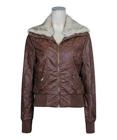 Look what I found on #zulily! Brown Faux Fur-Collar Bomber Jacket by Chalmon's #zulilyfinds