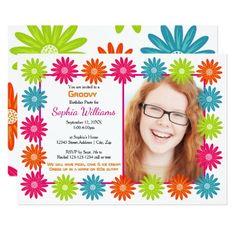Colorful Daisies - 3x5 Birthday Invitation