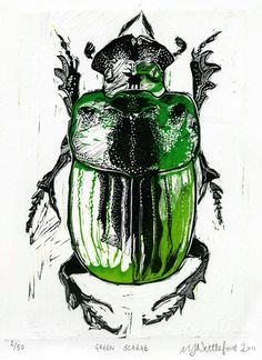 Egyptian scarab beetle linocut by MJ Nettleford http://www.etsy.com/uk/shop/RedDotPrintShop?ref=seller_info Tags: Linocut, Cut, Print, Linoleum, Lino, Carving, Block, Woodcut, Helen Elstone, Creatures