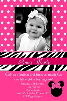 Custom Birthday Minnie Mouse Party Photo Invitations Minnie Mouse Party, Mouse Parties, Photo Invitations, Games For Girls, Party Photos, Little Girls, Crochet Hats, Birthday, Cute