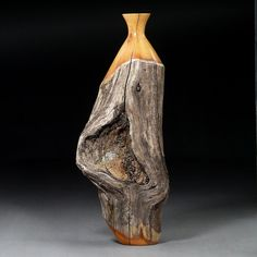 Weedpot vase of weathered Buckthorn. Inner heartwood has warm orange glow. Timberturner.com