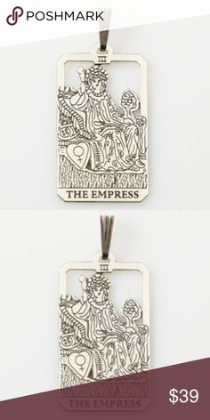 Empress Tarot Card Pendant .925 Sterling Silver The Empress Tarot Card Pendant  - Number 3 in the Major Arcana  Lovingly Handcrafted in beautiful .925 Sterling Silver in the USA. Size: 1 inch h x 5/8 inch w without bail.  1 1/2 inch including bail.   The Mother Goddess sits on an earthly throne, the orbed sceptre in her hand showing her imperial power. She wears a robe embroidered with roses, another symbol of earth, but her crown is of stars, showing that her power is divine in origin…