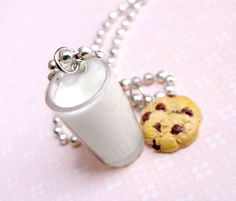Items similar to Milk and Cookies Necklace - Chocolate Chip Cookie Necklace - Cute Kawaii Food Jewelry for Little Girls and Teens on Etsy. , via Etsy.
