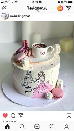 No photo description available. Pretty Cakes, Cute Cakes, Beautiful Cakes, Amazing Cakes, Cake Paris, Paris Themed Cakes, Fondant Cakes, Cupcake Cakes, Diva Cakes