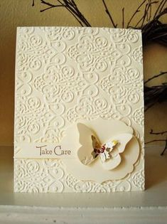 handmade card by penguinstamper: Take Care Card .. white on white .... clean and simple layout ... baroque embossing folder .. punched butterfly attached with wings on .... elegant look ... Stampin' Up!