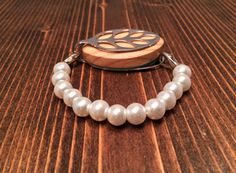 Faux Pearl Fitness Bracelet Accessory by LadyLeafCo on Etsy #bellabeatleaf