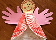 weihnachten basteln pappteller idee engel handabdruck fluegel papier