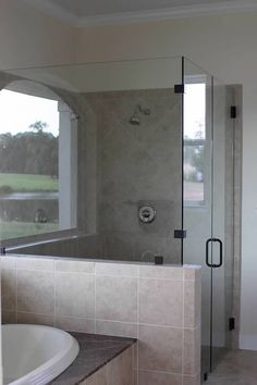 1000 images about design bathroom on pinterest sarah for Half wall shower glass