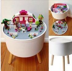DIY Lego with storage shelves or boxes Ideas for girls and boys. Easy how to make an Ikea or thrift store coffee table into a play space for the kids. DIY Lego Table: Organise Your Kids' Toys - Organised Pretty Home Table Lego Diy, Lego Table With Storage, Lego Storage, Ikea Storage, Bedroom Storage, Storage Shelves, Storage Ideas, Storage Hacks, Ikea Shelves