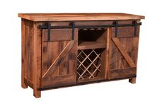 Sliding Barn Door Buffet Urban Reclaimed Barnwood Urban Chic at its finest with this Sliding Barn Door Wine Cabinet. Handcrafted by our skilled Amish Craftsman from century old salvage