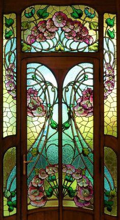 Art Nouveau Stained Glass Door House Ideas For 2019 Stained Glass Door, Leaded Glass, Mosaic Glass, Glass Doors, Fused Glass, Blown Glass, Mirror Glass, Design Art Nouveau, Motif Art Deco