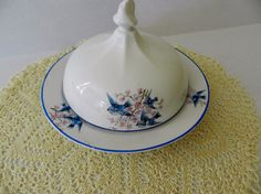 1930's Covered Bluebird Cheese Butter Dish by Thompson.