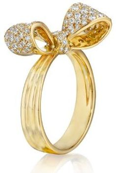 """Mimi So """"petite"""" bow ring in gold and diamonds...."""