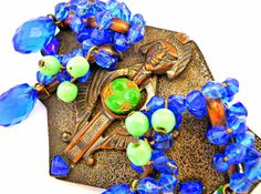 Art Deco Egyptian Revival Brooch Sash Pin Czech by RenaissanceFair
