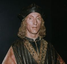 Painted plaster bust of the funeral effigy of Henry VII, father of Henry VIII, who died in 1509,