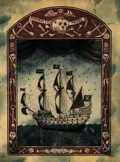 sometimes I think I'd like to get a memento mori tattoo.using Gorey skulls. Pirate Art, Pirate Life, Bateau Pirate, Pirate Treasure, Black Sails, Ship Tattoos, Gun Tattoos, Bear Tattoos, Ankle Tattoos