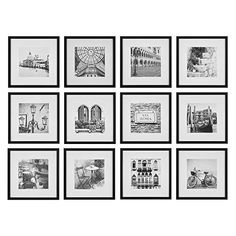 Gallery Perfect 16FW2233 12 Piece Black Square Photo Picture Hanging Template Gallery Wall Frame Set,(12 x 12 inches) - Black