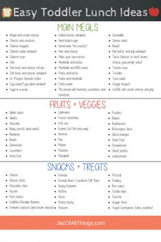 A complete list of school lunch ideas for kids! (Even for the picky eater!) Read more for quick and easy ideas on what to pack for lunch for preschool or daycare. Includes cold (no heat) lunches, hot and thermos lunches, sandwich and non-sandwich options. Easy Toddler Lunches, Toddler Menu, Easy School Lunches, Healthy Toddler Meals, Toddler Lunchbox Ideas, Kid Lunches, Toddler Schedule, Toddler Meal Plans, Toddler Food Picky