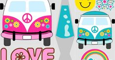 This images will help you for making decorations, invitations, toppers, cards, labels and anything yo. Hippie Chic, Happy Hippie, Hippie Style, 70s Party, Party Time, Kombi Hippie, Japanese Party, Hippie Party, Oh My Fiesta