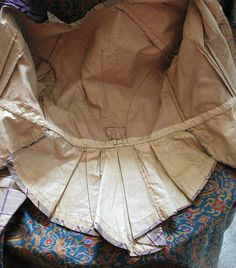 "interior detail - 1860 Plaid Silk Ladies Afternoon Visting Outfit | eBay seller heartnsoul1; bodice fully lined, pleating at collar and cuffs, bow on peplum; lined skirt with cartridge pleating at back; museum de-accession; bust: 36""; waist; 28""; skirt length: 42-47"""