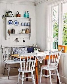 Tour this bright Swedish cottage: the all white interior is anything but boring Cozy Kitchen, Kitchen Decor, Kitchen Dining, Romantic Kitchen, Kitchen Corner, Rustic Kitchen, Country Kitchen, Country Life, Country Living