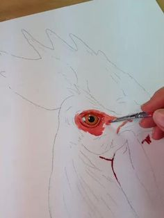 After the eye is done, I work from there outward. Rooster Painting, Rooster Art, Chicken Painting, Chicken Art, Oil Painting Lessons, Painting & Drawing, Watercolor Bird, Watercolor Paintings, Art Tutorials