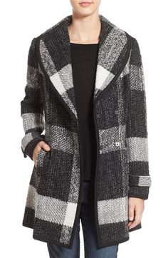GUESS Shawl Collar Plaid Coat