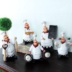 Chef Resin Crafts Vintage Home Decor Chef Furnishing Ornaments Artesanato Figurine decoration Cook Kitchen Restaurant Bar Cafe Fat Chef Kitchen Decor, Toy Kitchen, Kitchen Ideas, Kitchen Hooks, Design Kitchen, Decor Crafts, Home Crafts, Resin Crafts, Paper Crafts