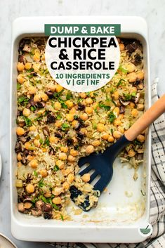 This dump-and-bake Chickpea & Rice Casserole is easy AND delicious! Made from only 10 plant-based ingredients, it delivers big flavor with minimal effort. Perfect for meal prep or a weeknight dinner! Source by cheeky_chickpea_ Vegetarian Recipes Dinner, Vegan Dinners, Easy Dinner Recipes, Appetizer Recipes, Soup Appetizers, Vegan Casserole, Casserole Recipes, Rice Casserole, Mushroom Casserole