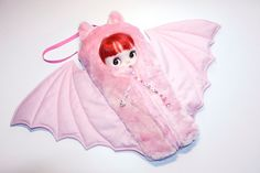 "The Original Blythe Sleepsack from PINKKIS: ""BATTY"" Kawaii Pink Bat-Shaped Carrier for Blythe Dolls"
