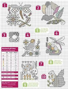 Blackwork designs from Cross Stitch Crazy - February 2016 Mini Cross Stitch, Cross Stitch Heart, Cross Stitch Cards, Cross Stitch Alphabet, Cross Stitch Animals, Cross Stitch Flowers, Motifs Blackwork, Blackwork Cross Stitch, Blackwork Embroidery