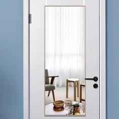 Full Length Mirror On Door, Modern Full Length Mirrors, Over The Door Mirror, Floor Mirror, Mirror Mirror, Dressing Mirror, Mirror Shapes, White Mirror, Wall Mounted Mirror