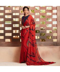 Red Colour Embroidered Georgette Saree With Blouse Lehenga Choli Latest, Lehenga Choli Online, Indian Sarees Online, Bridal Lehenga Choli, Georgette Sarees, Celebrity Gowns, Lehenga Style, Red Saree, Casual Saree
