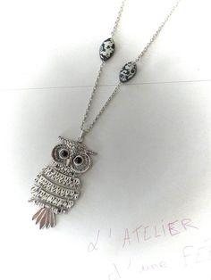 collier avec pendentif hibou argenté de 9 cm : Collier par myriam-et-ses-crea