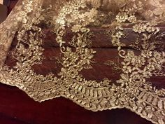 Gold embroidered lace table runner, gold tablecloth, table overlay, home decor, weddings. by FantasyFabricDesigns on Etsy Wedding Tablecloths, Wedding Table Linens, Wedding Table Decorations, Wedding Tables, Wedding Decor, Wedding Receptions, Wedding Centerpieces, Lace Runner, Lace Table Runners