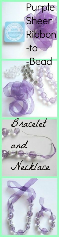 Very pretty and easy to make tutorial. Matching bracelet and necklace which only uses a few products. I love this ribbon that has wire on the end to add beads!   See more about Ribbons, Beads and Bracelets.