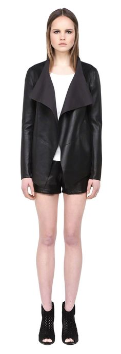 MACKAGE GRETCHEN BLACK WATERFALL COLLAR SPRING LEATHER JACKET FOR WOMEN  #mackage #leather