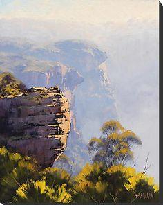 'Misty Cliffs Katoomba' by Graham Gercken Watercolor Landscape, Landscape Art, Landscape Paintings, Watercolor Paintings, Art Paintings, Abstract Paintings, Australian Painting, Australian Artists, Mountain Art