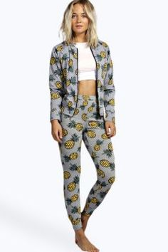 Lydia Pineapple Bomber And Jogger Lounge Set at boohoo.com