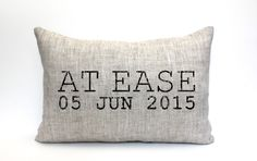"""at ease pillow, phrase pillow, military retirement gift, military gift, army gift, christmas gift - """"At Ease"""" by coverLove on Etsy https://www.etsy.com/listing/236222475/at-ease-pillow-phrase-pillow-military"""