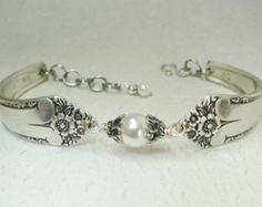 Spoon Armband, Silver Smycken, White Crystal Pärlor, Sterling Silver Bali Bead Caps, Starlight 1950