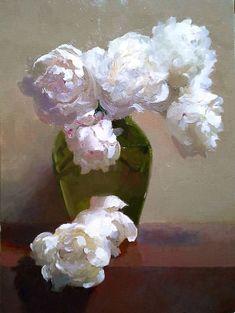 **The Joy of Life** Dennis Perrin White: Peonies in Ballerina Vase