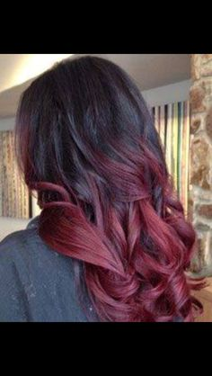 Red Care red ombre on black hair - Ombre Hair Black Hair Ombre, Best Ombre Hair, Black Hair Red Tips, Purple Ombre, Burgundy Hair Ombre, Burgundy Balayage, Ombre Color, Red Hair With Black Roots, Black Cherry Ombre