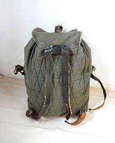 ce468f4cbb1 Vintage huge military backpack linen leather rucksack bucket shoulder bag olive  green.  85.00