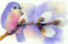 paintings of pussey willows | ... And Pussywillow Painting - Blue Bird And Pussywillow Fine Art Print