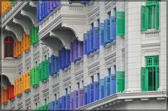 colorful shutters in Singapore