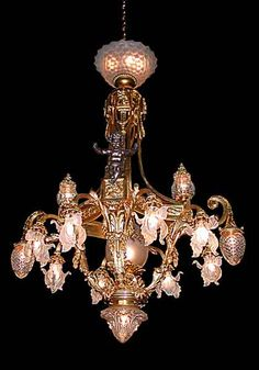 19th Century $55,000 Bronze Chandelier, Vintage Chandelier, Chandelier Lighting, Chandeliers, Frou Frou, Pretty Lights, Something Old, Mind Blown, Ceiling Lights