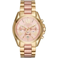 Michael Kors Bradshaw Chronograph Watch - Rose Gold/Gold - Women's... ($250) ❤ liked on Polyvore featuring jewelry, watches, metalic, gold jewelry, gold wrist watch, gold chronograph watches, gold chronograph watch and rose gold chronograph watch